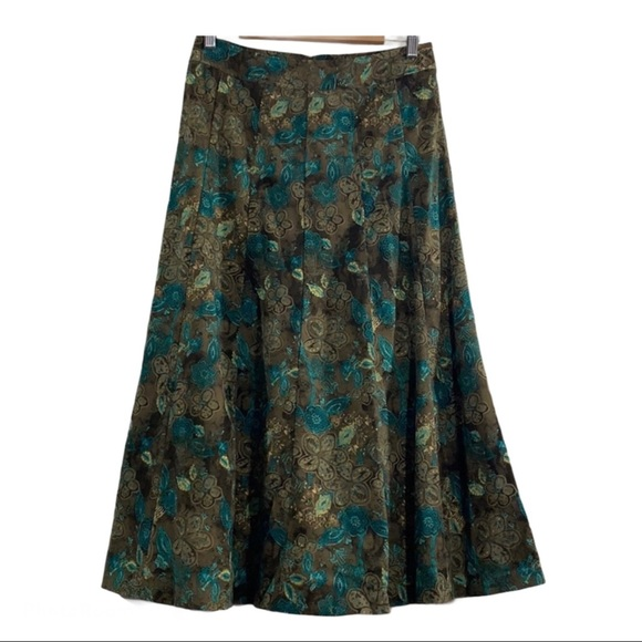 Christopher & Banks Dresses & Skirts - Vintage 70s inspired suede paisley pleated skirt